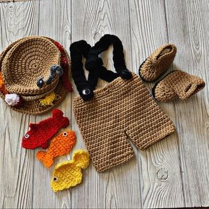 Hand Crocheted Four Piece Baby Fisherman Outfit